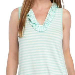 CROWN & IVY Mint Green and White striped Sleeveles